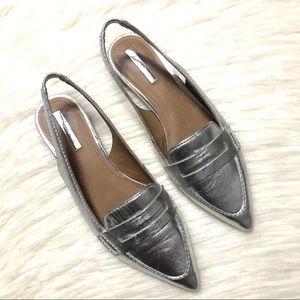 Tahari metallic silver slingback loafer flats